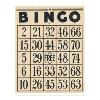 Tarjeta del bingo del vintage postal