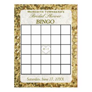 Tarjeta del bingo - lentejuelas del oro postal