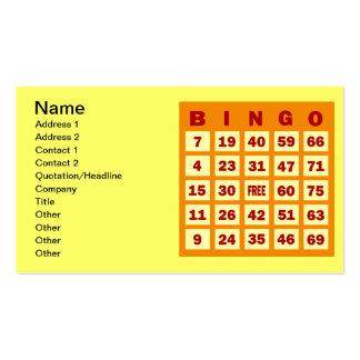 Tarjeta del bingo plantillas de tarjetas de visita