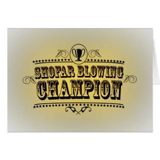 Tarjeta del campeón del Shofar que sopla