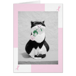 Tarjeta del cáncer de pecho--Gato con color de