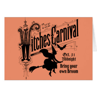 Tarjeta del carnaval de las brujas para Halloween