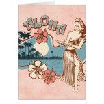 Tarjeta del chica de Hula de la hawaiana