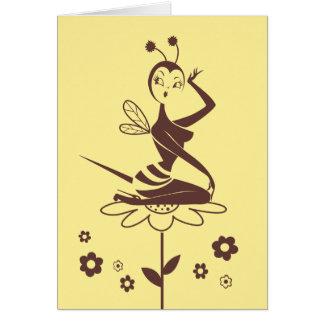Tarjeta del chica de la abeja de Srta. Fluff