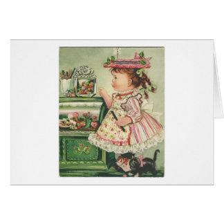 Tarjeta del chica de tienda del caramelo del