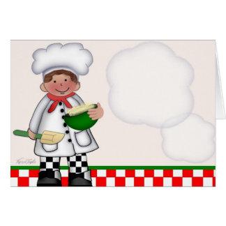 Tarjeta del cocinero del muchacho