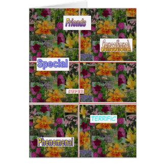 Tarjeta del collage de la flor del estímulo