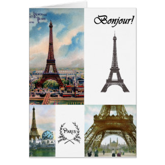 Tarjeta del collage de la torre Eiffel