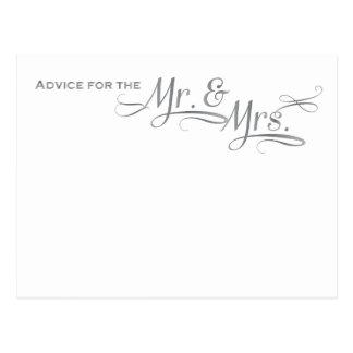 Tarjeta del consejo del boda en la fuente de plata postal