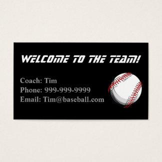 Tarjeta del contacto de los entrenadores de