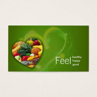 Tarjeta del corazón de la fruta del nutricionista