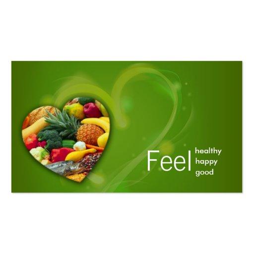 Tarjeta del corazón de la fruta del nutricionista  plantillas de tarjeta de negocio