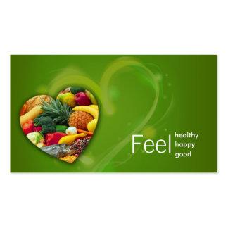 Tarjeta del corazón de la fruta del nutricionista  tarjetas de visita