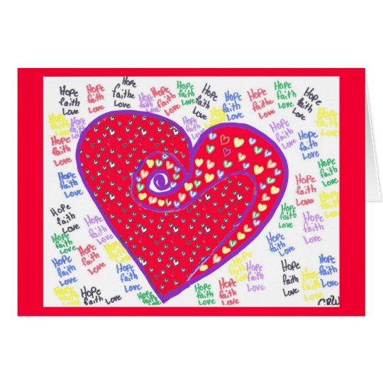 Tarjeta del corazón de la tarjeta del día de San