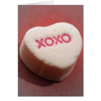 Tarjeta del corazón del caramelo de XOXO