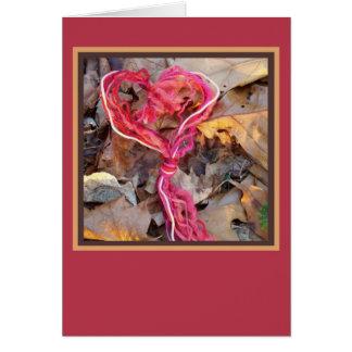 Tarjeta del corazón del nudo del hilado
