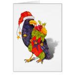 Tarjeta del cuervo de Santa