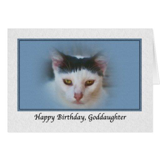 Tarjeta del cumpleaños de la ahijada con el gato