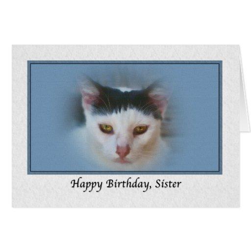 Tarjeta del cumpleaños de la hermana con el gato