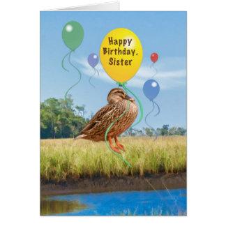 Tarjeta del cumpleaños de la hermana con el pato y
