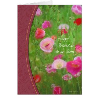 Tarjeta del cumpleaños de la hermana pintada de la