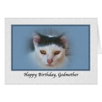 Tarjeta del cumpleaños de la madrina con el gato