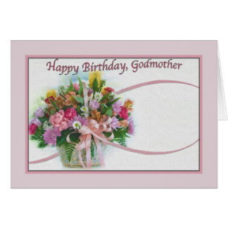 Tarjeta del cumpleaños de la madrina con el ramo f