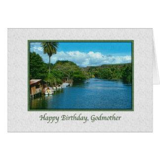 Tarjeta del cumpleaños de la madrina con el río ha