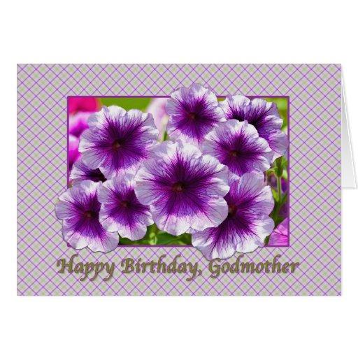 Tarjeta del cumpleaños de la madrina con las petun