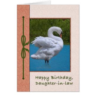 Tarjeta del cumpleaños de la nuera con el cisne mu