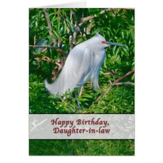 Tarjeta del cumpleaños de la nuera con el Egret ne