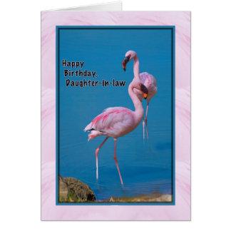 Tarjeta del cumpleaños de la nuera con el flamenco