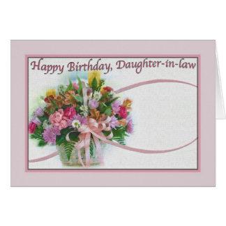 Tarjeta del cumpleaños de la nuera con las flores