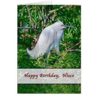 Tarjeta del cumpleaños de la sobrina con el Egret