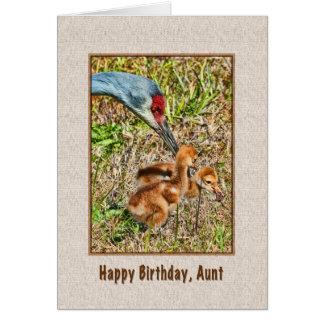 Tarjeta del cumpleaños de la tía con la familia de