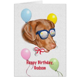 Tarjeta del cumpleaños del ahijado con el perro de