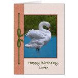Tarjeta del cumpleaños del amante con el pájaro de
