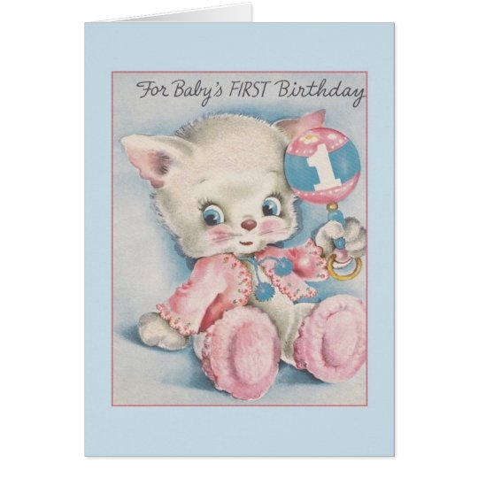 Tarjeta del cumpleaños del bebé del vintage