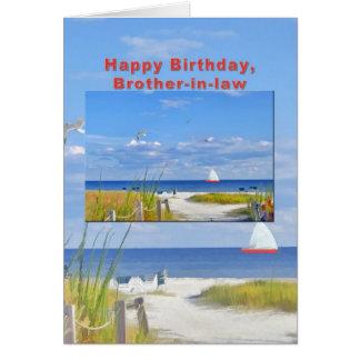 Tarjeta del cumpleaños, del cuñado, de la playa y