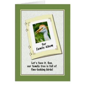 Tarjeta del cumpleaños del hijo con el Egret de