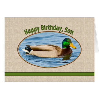 Tarjeta del cumpleaños del hijo con el pato del