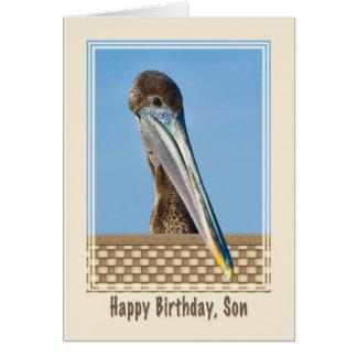 Tarjeta del cumpleaños del hijo con el pelícano de