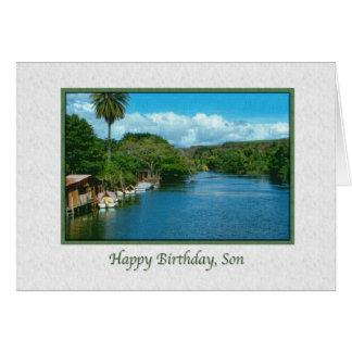 Tarjeta del cumpleaños del hijo con el río