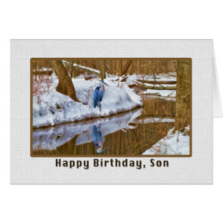 Tarjeta del cumpleaños del hijo con la garza azul