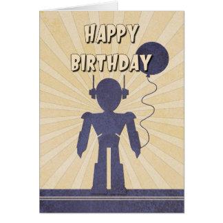 Tarjeta del cumpleaños del muchacho del robot