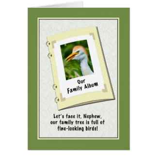 Tarjeta del cumpleaños del sobrino con el Egret de