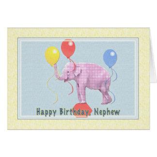 Tarjeta del cumpleaños del sobrino con el elefante