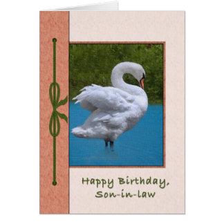 Tarjeta del cumpleaños del yerno con el pájaro del