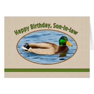 Tarjeta del cumpleaños del yerno con el pato del