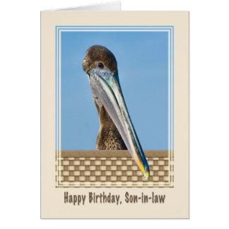 Tarjeta del cumpleaños del yerno con el pelícano d